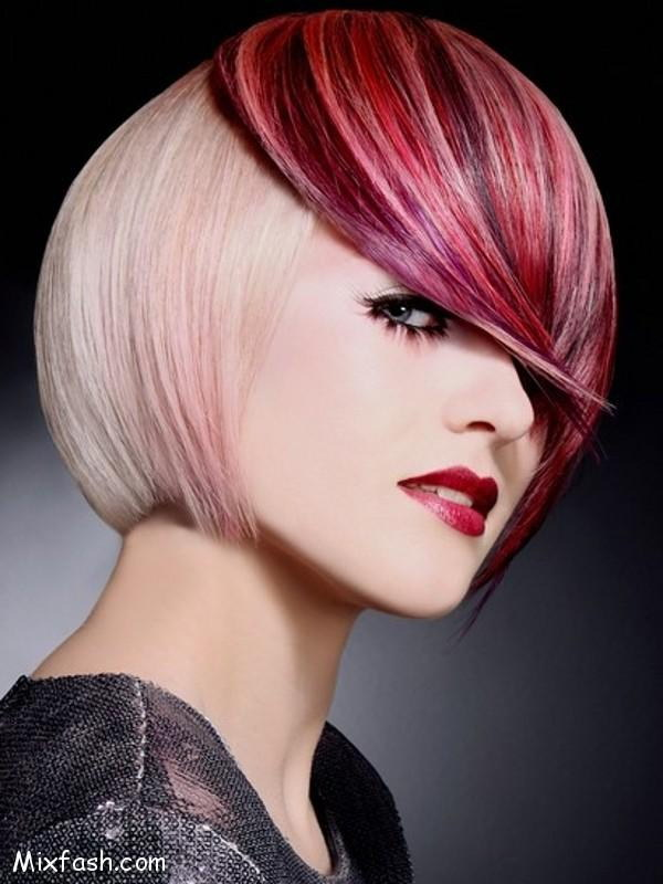 Short Blonde Bob Hairstyle with Glossy Red Bangs.
