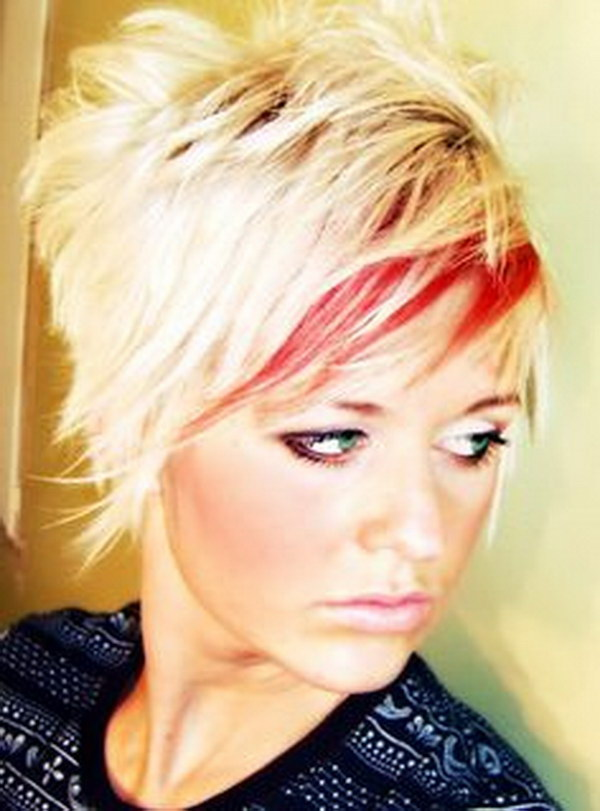 Shaggy Blonde Hair With Red Highlights.