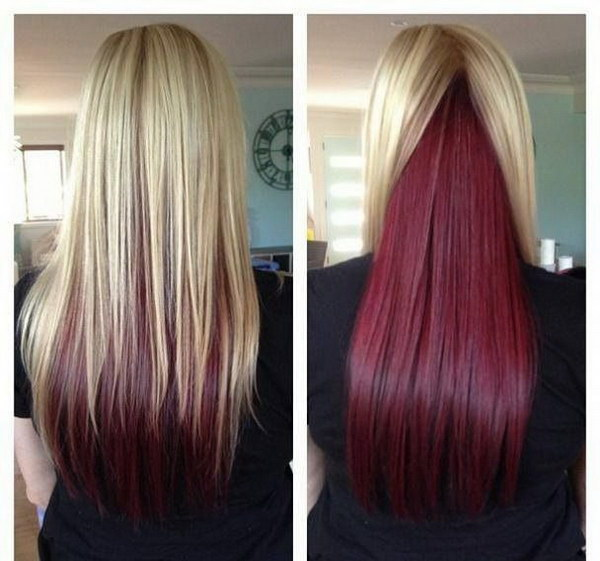 Long Straight Hair with Blonde on Top and Red Underneath.