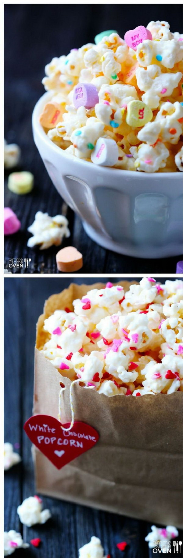 Valentine's White Chocolate Popcorn.