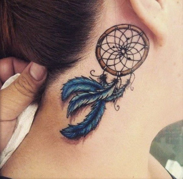 Dreamcatcher Tattoo On Back of Ears.