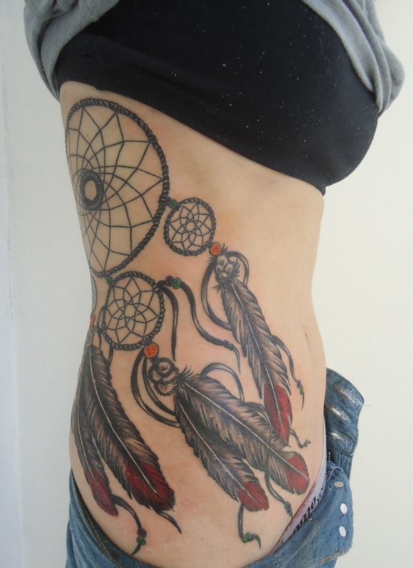 Dreamcatcher Rib Tattoo Ideas.
