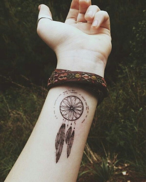 Cute Wrist Dream Catcher Tattoo Design.
