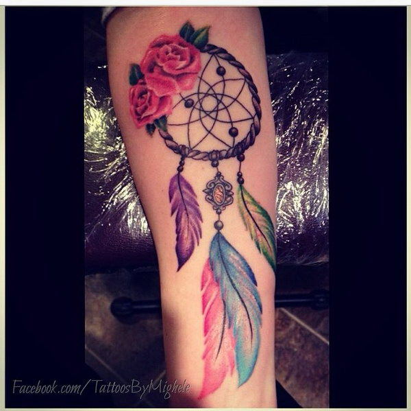 Colorful Dreamcatcher Tattoo Designs.