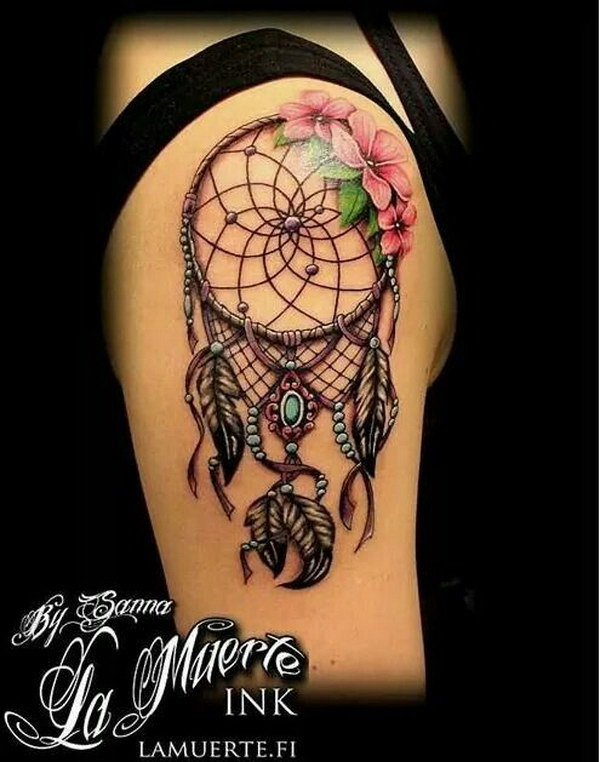 Dream Catcher Sleeve Tattoo with Flowers.