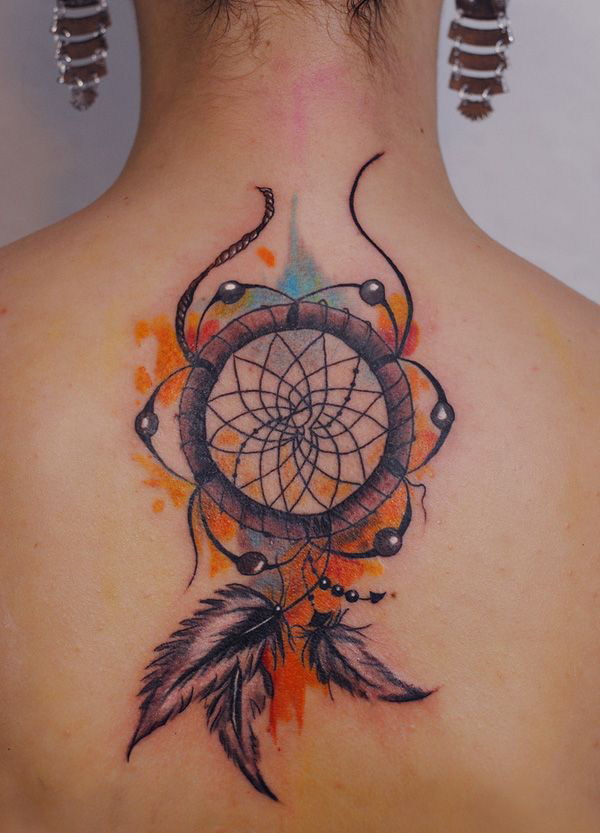 Booby Dreamcatcher Tattoo Design on Back.