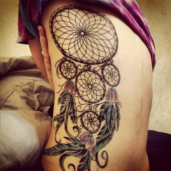 Dreamcatcher Tattoo Design On Side Back.