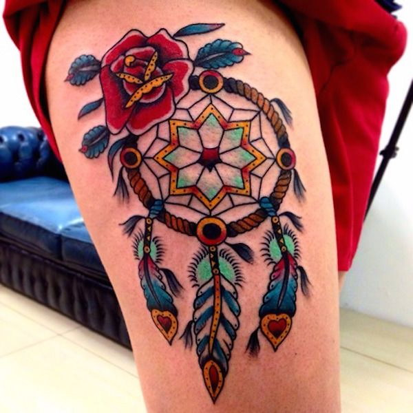 Colorful Dream Catcher Tattoo on Thigh.