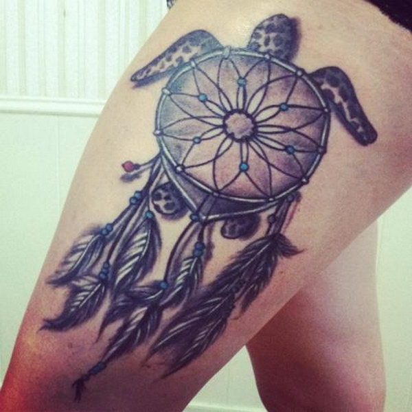 Sea Turtle Dream Catcher Tattoo Design on Thigh.