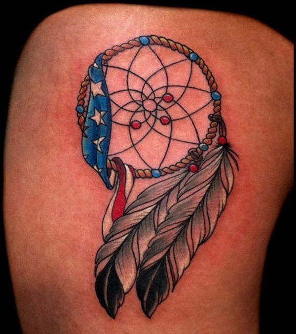 Dreamcatcher Tattoo with American Flag Tattoo.