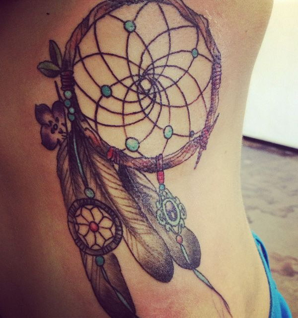 Dreamcatcher Tattoo Design on Side.
