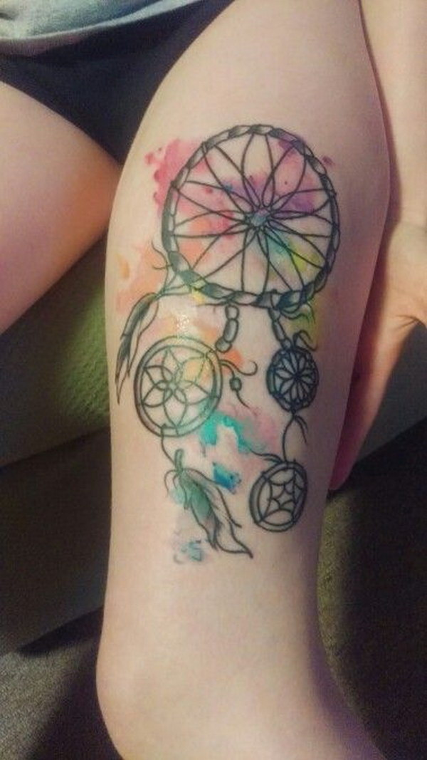 0d5c091e6 Thigh Watercolor Dreamcatcher Tattoo