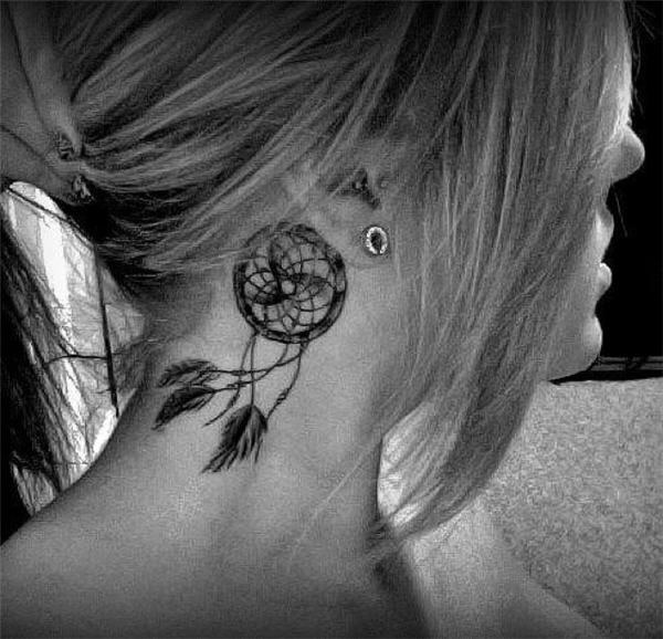 Dream Catcher Neck Tattoo Design.