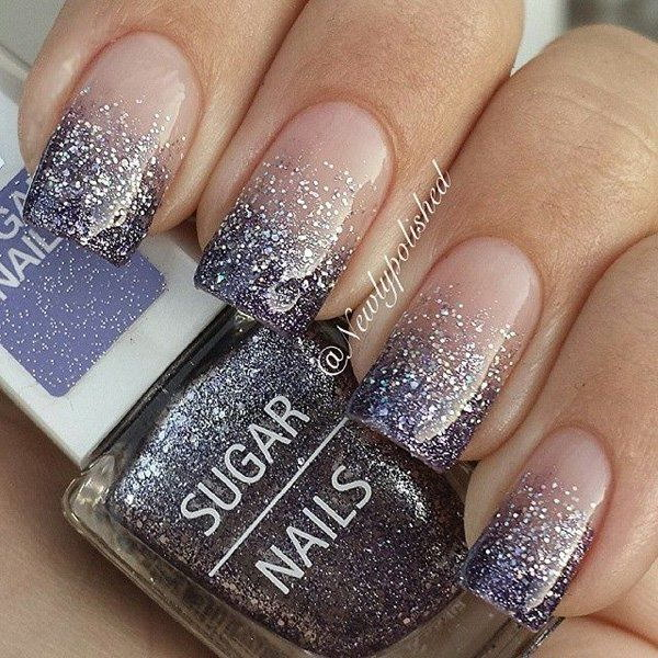 Gradient Purple and Silver Tipped Nail Design - 70+ Stunning Glitter Nail Designs 2017