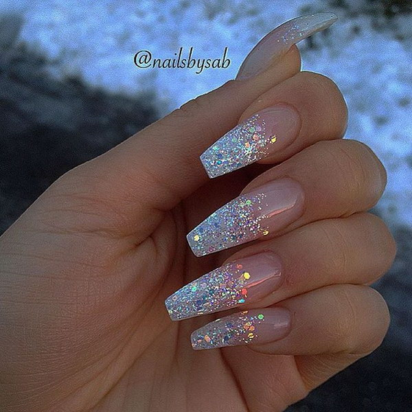Holo Glitter Tip Long Coffin Nails - 70+ Stunning Glitter Nail Designs 2017
