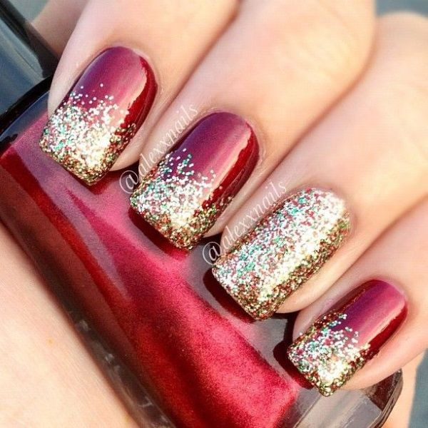70 stunning glitter nail designs 2017 christmas glitter nail art designs prinsesfo Image collections