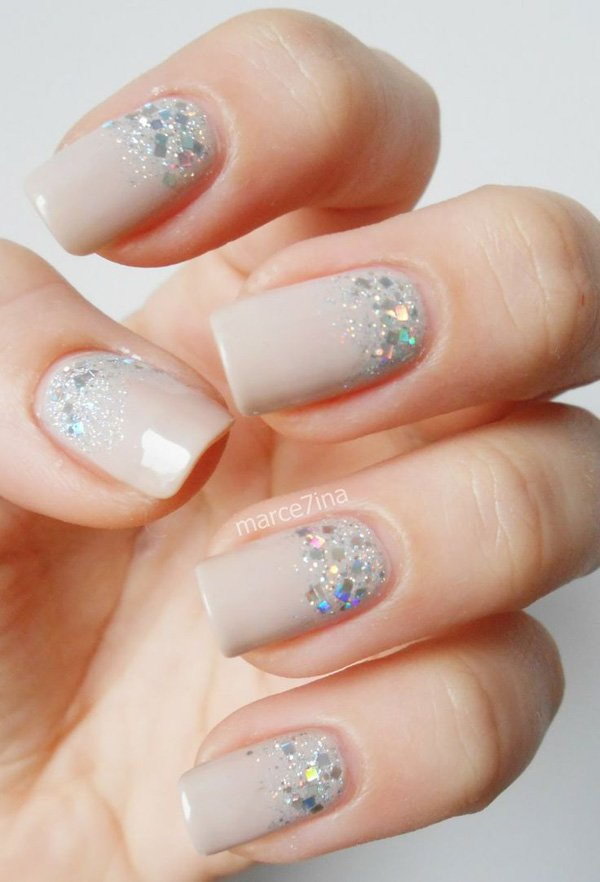 70 stunning glitter nail designs 2017 half moon glitter with matte nude base nail art design prinsesfo Gallery