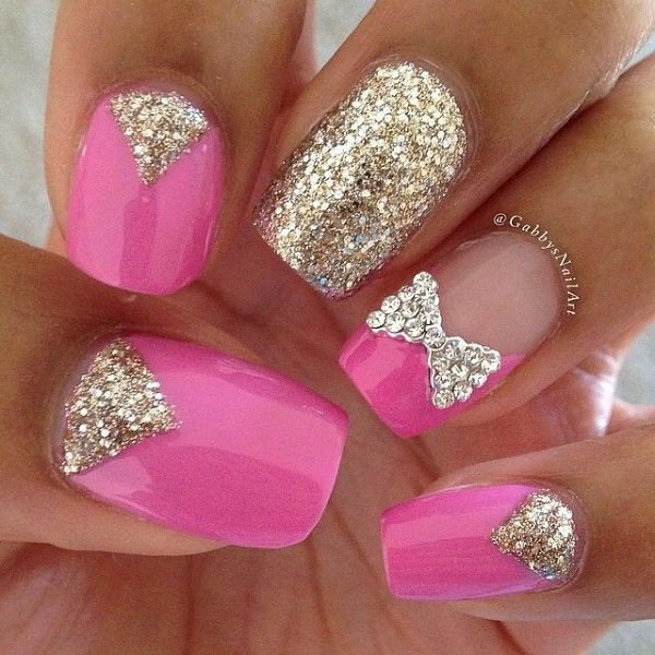 Carnation Pink Nails Accented with V-shape Silver Glitters and Bow - 70+ Stunning Glitter Nail Designs 2017