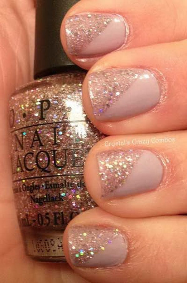 Glitter and Nude Nail Design for Short Nails.