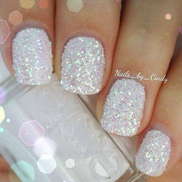 Sparkly White Holiday Nails.