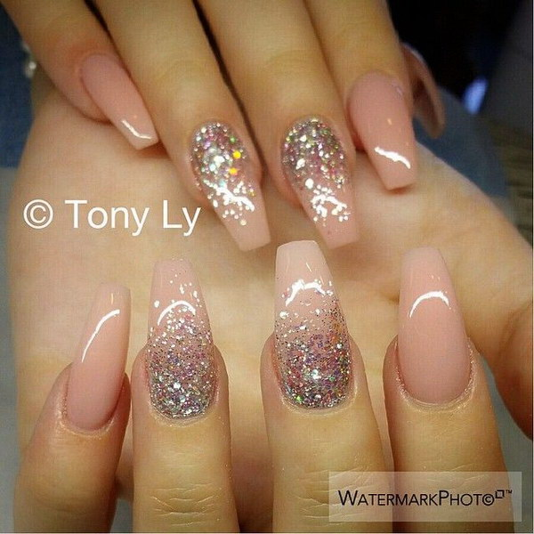 Baby Pink Glitter Wedding Nail Design