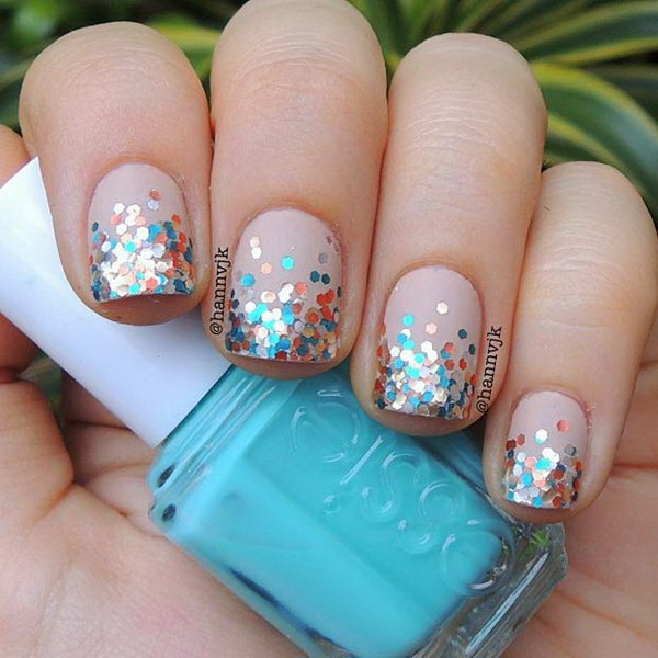 Nude & Glitter Tips Nail Design.