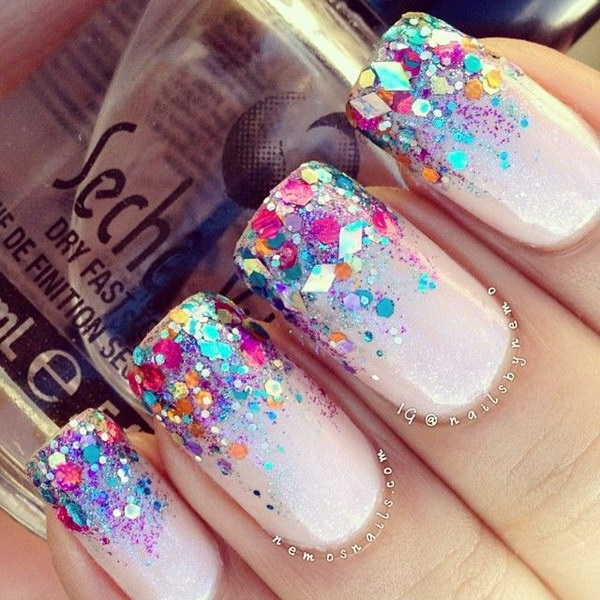 Neon Glitter Tipped French Nails.