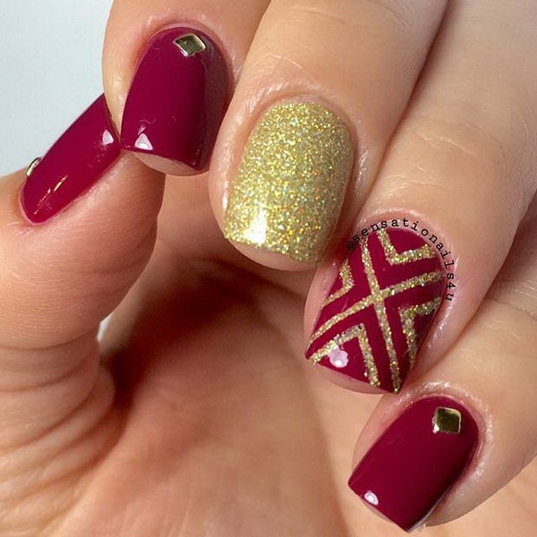 Dark Red Nails with a Pop of Gold Glitter.
