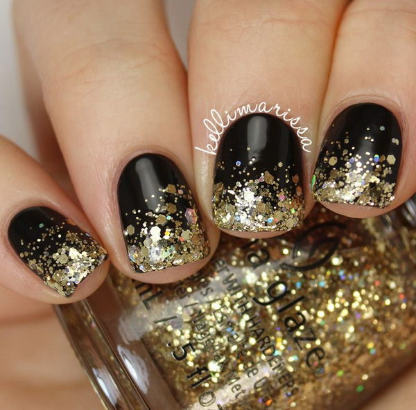 Glod Sequins Tipped Nail Art for Short Nails.