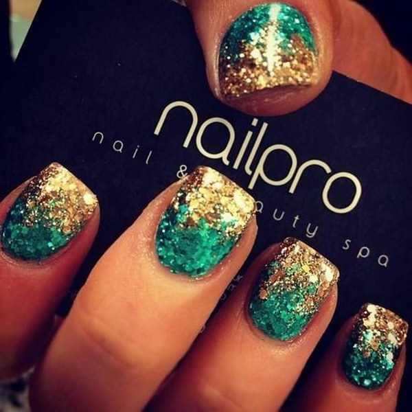 Turquoise Gold Glitter Nails