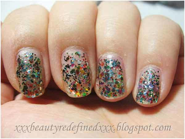 NYX Multi Color Glitter Nail Design.