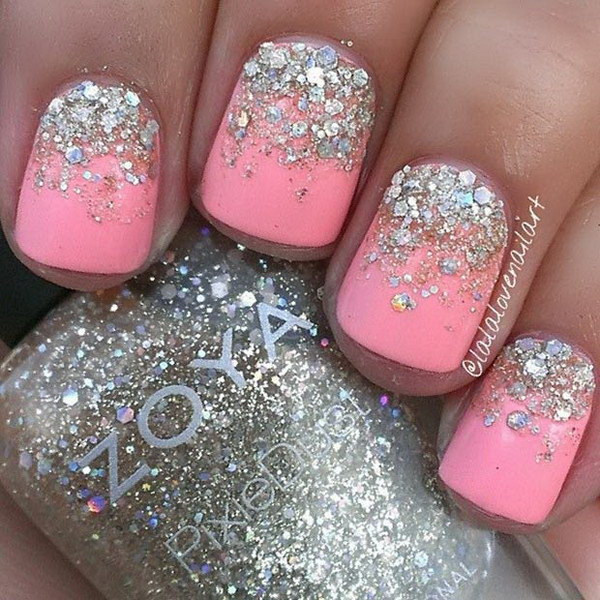 Neon Pink and Silver Glitter Nail Design.