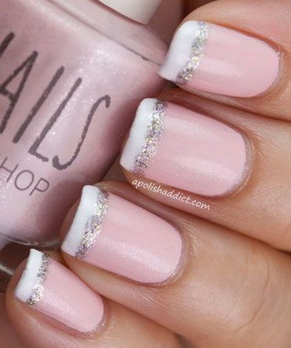 70 stunning glitter nail designs 2017 french nail tipped with white and glitter prinsesfo Choice Image