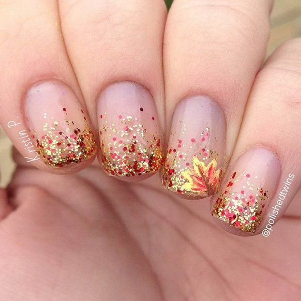 Glitter Gradient Nail Design for Fall - 70+ Stunning Glitter Nail Designs 2017
