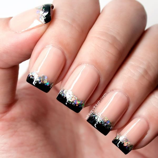 French Tip Glitter Nail Art Design.