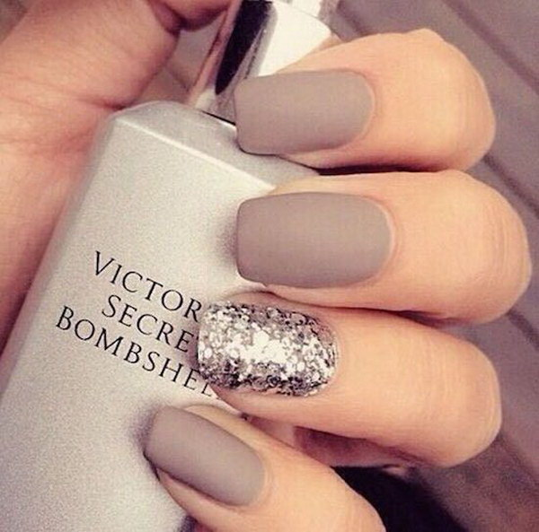 Matte Taupe Manicure with a Silver Glitter Accent Nail - 70+ Stunning Glitter Nail Designs 2017