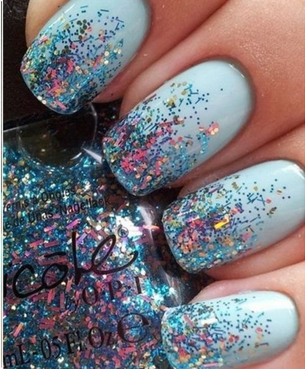 Pale Blue Glitter Nails.