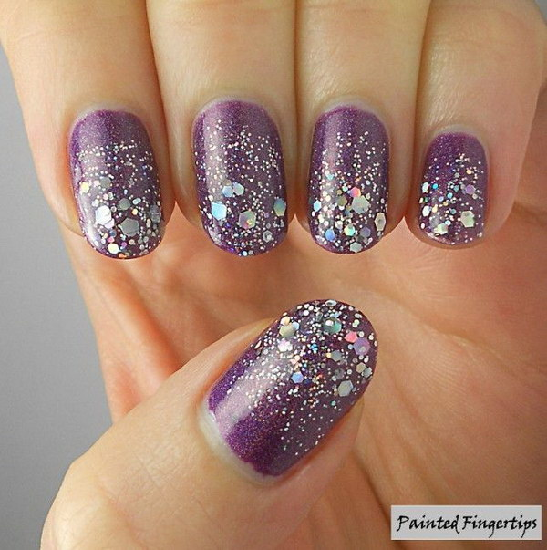 70 stunning glitter nail designs 2017 purple matte nails with silver glitters prinsesfo Image collections