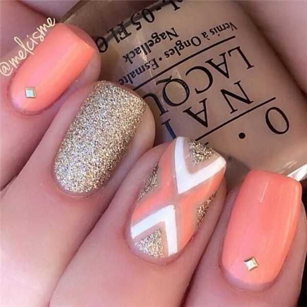 Coral & Gold Glitter with Patterns, Studs Nail Design - 70+ Stunning Glitter Nail Designs 2017
