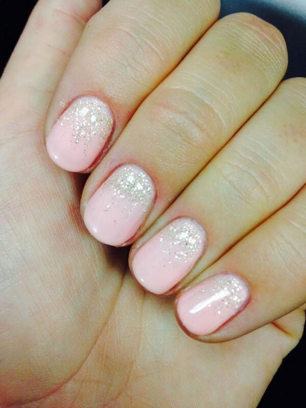 Frosted Pink Nails With Glitter