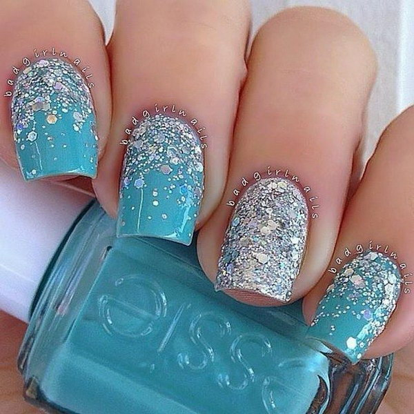 70 stunning glitter nail designs 2017 icy blue glitter nails prinsesfo Choice Image