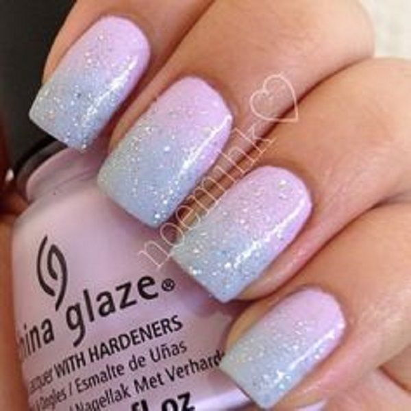Baby Pink and Blue Ombre Nail Art with Glitter Polish on Top - 70+ Stunning Glitter Nail Designs 2017