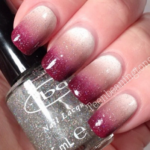 Glitter & Ombre Nail Art Design.