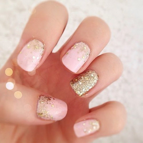 Pink And Gold Glitter Wedding Manicure