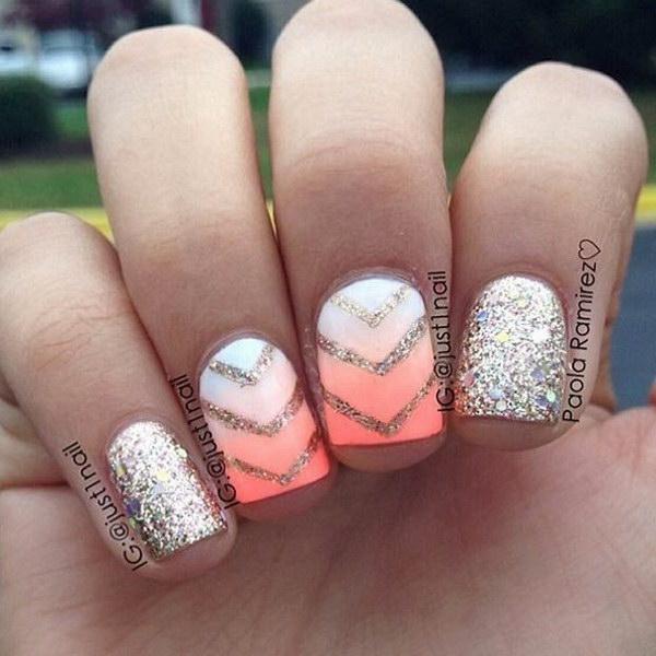 Neon Ombre + Gold Glitter Nail Design.