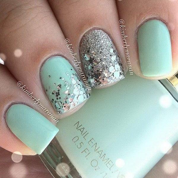 Mint & Silver Glitter Nail Design.