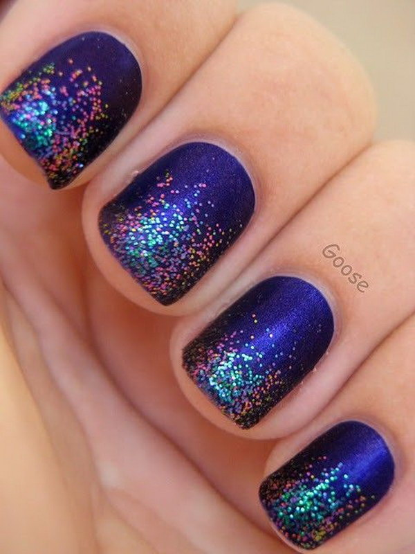 Purple Glitter Tip Nails.
