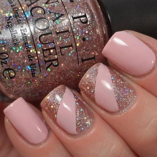 Pink Glitter Nail Art Design.