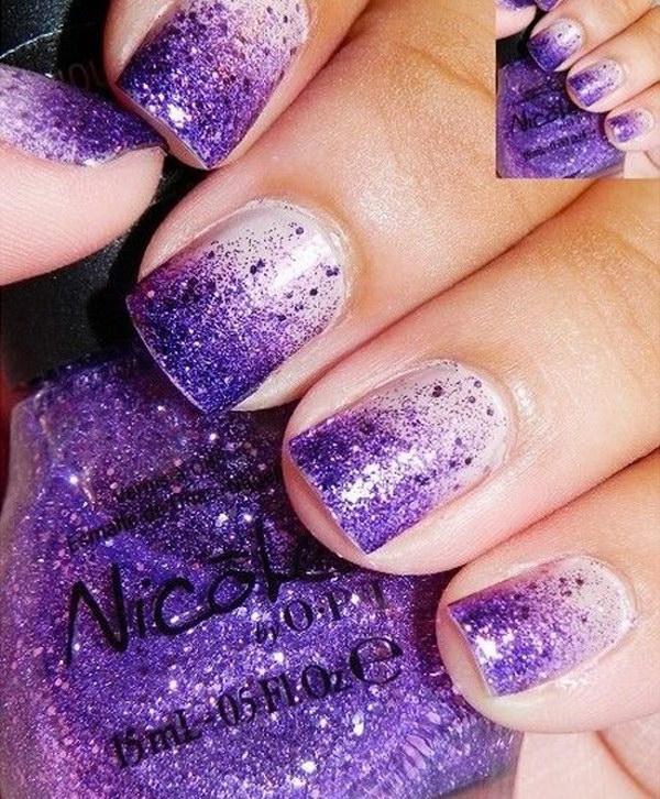 Ombre Purple Glitter Manicure