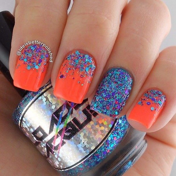 Blue and Fuchsia Glitters Half Moon Nail Design.